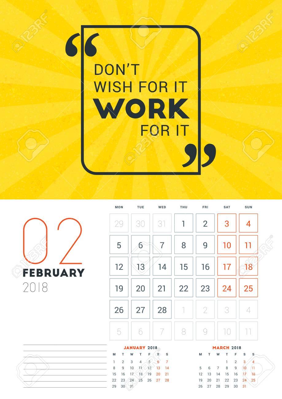 Calendar Design Quote : Wall calendar template for february vector design print