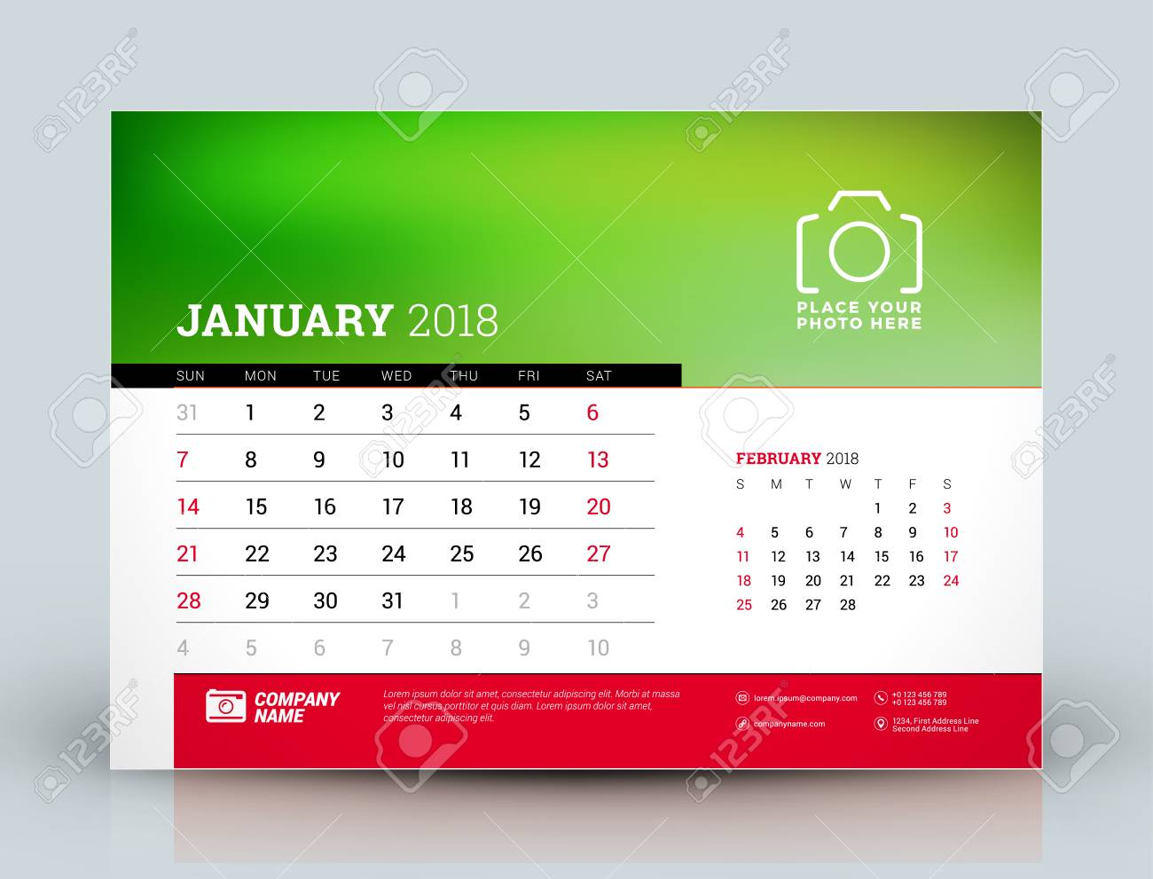vector calendar planner design template january 2018 place