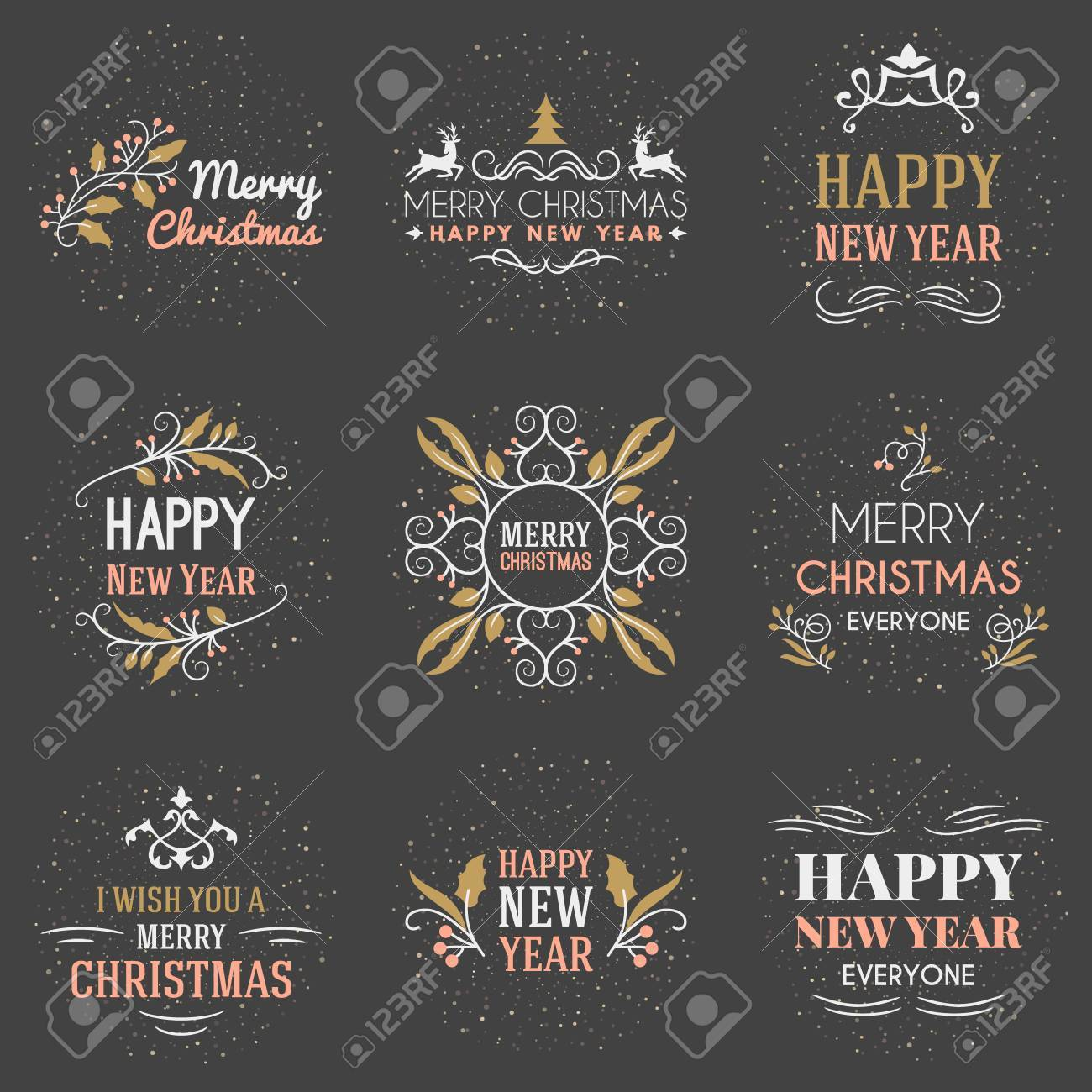 Set Of Merry Christmas And Happy New Year Decorative Badges For
