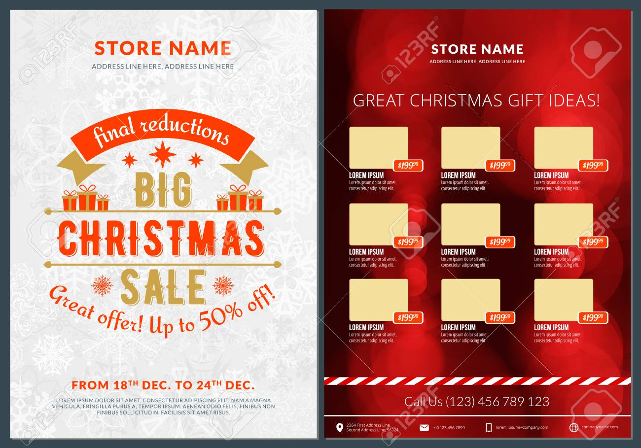 Christmas Sale Catalog Design Business Flyer Template Vintage Badge With Red Background Stock Vector