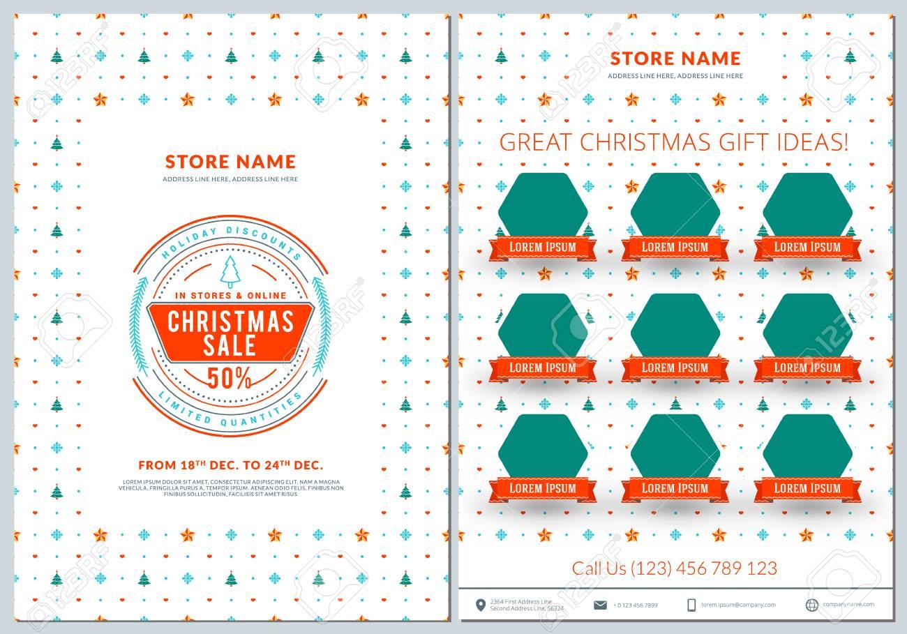 Weihnachtsverkauf Menü-Design . Business Flyer Vorlage . Vintage ...