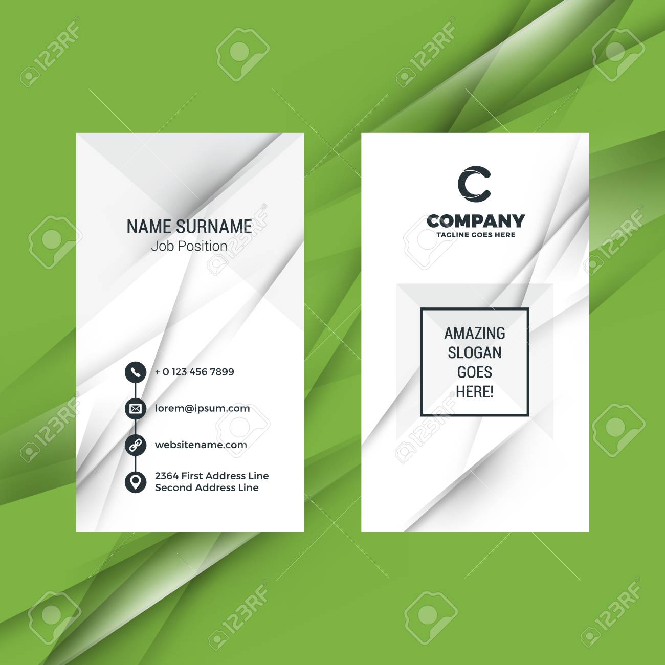 Vertical Double Sided Black And White Business Card Template