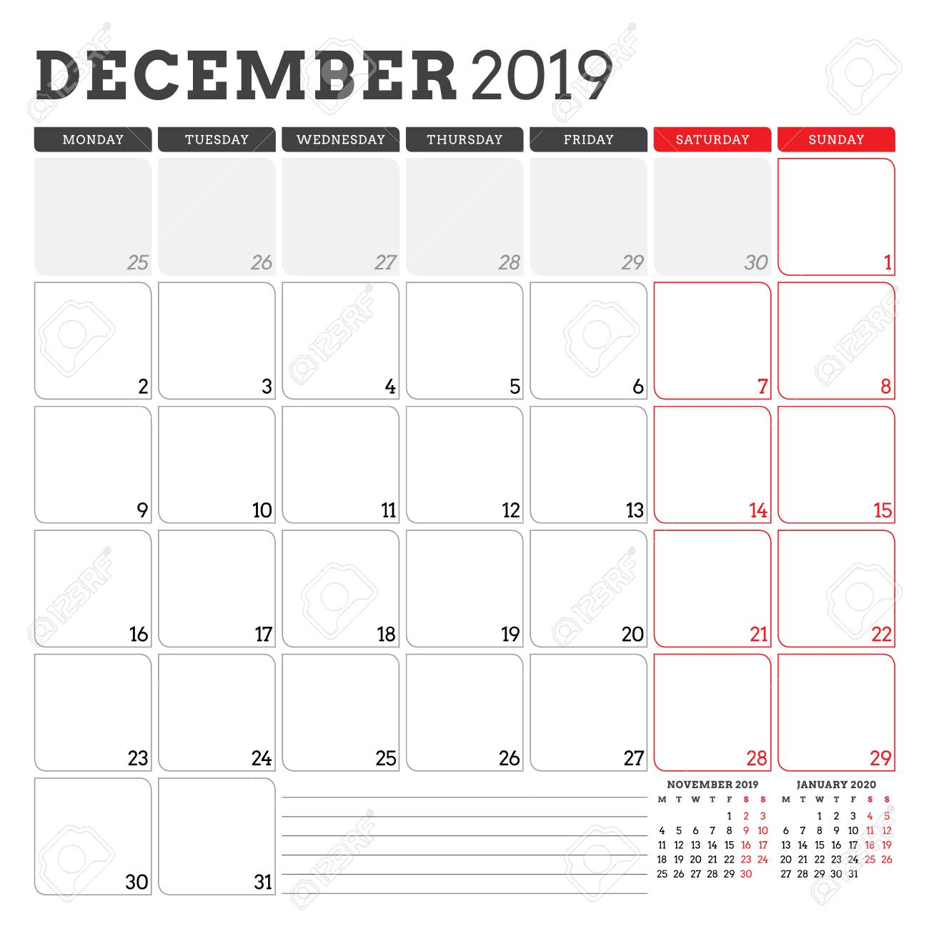 picture about Calendar Dec Printable known as Calendar planner for December 2019. 7 days begins upon Monday. Printable..