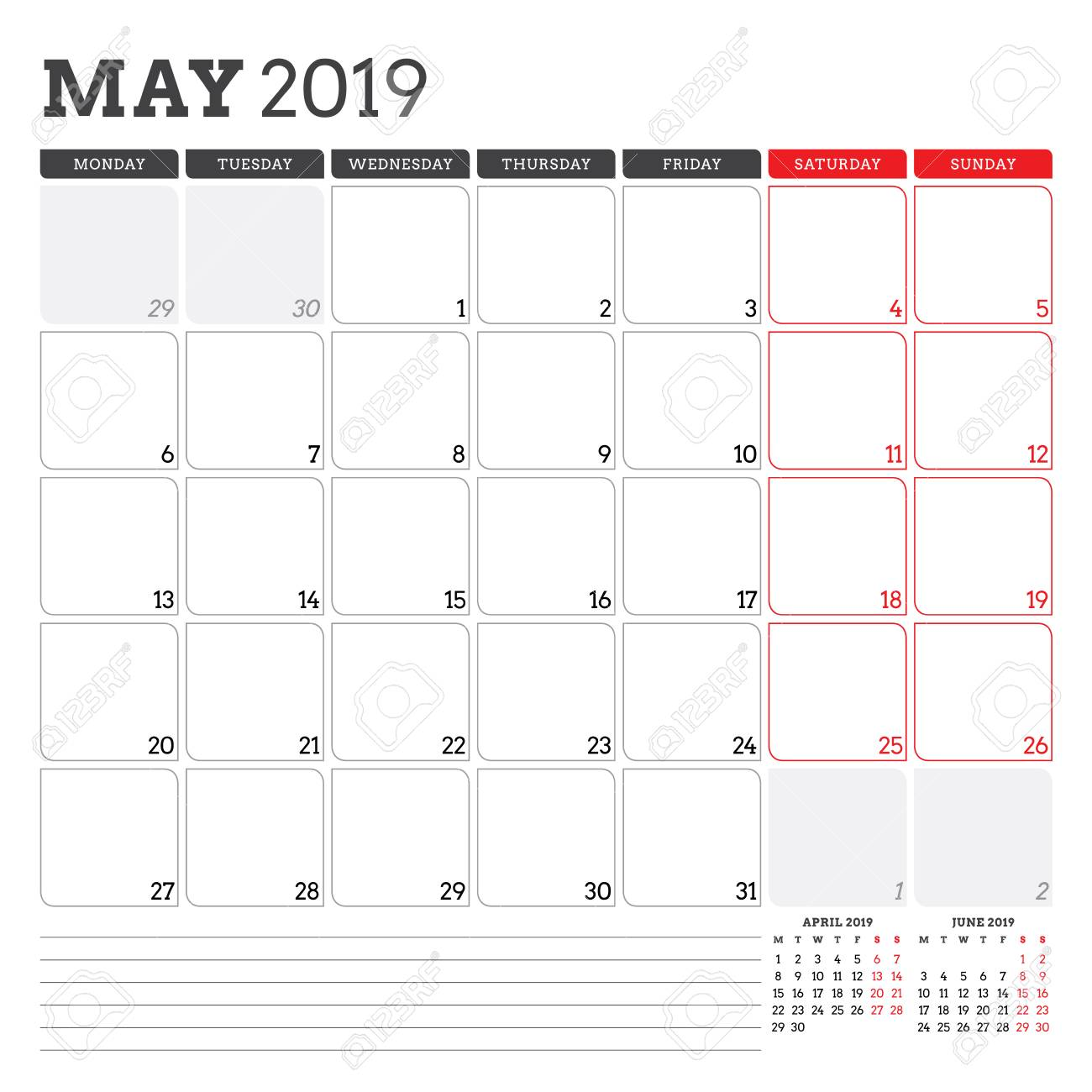 Calendar Planner For May 2019 Week Starts On Monday Printable