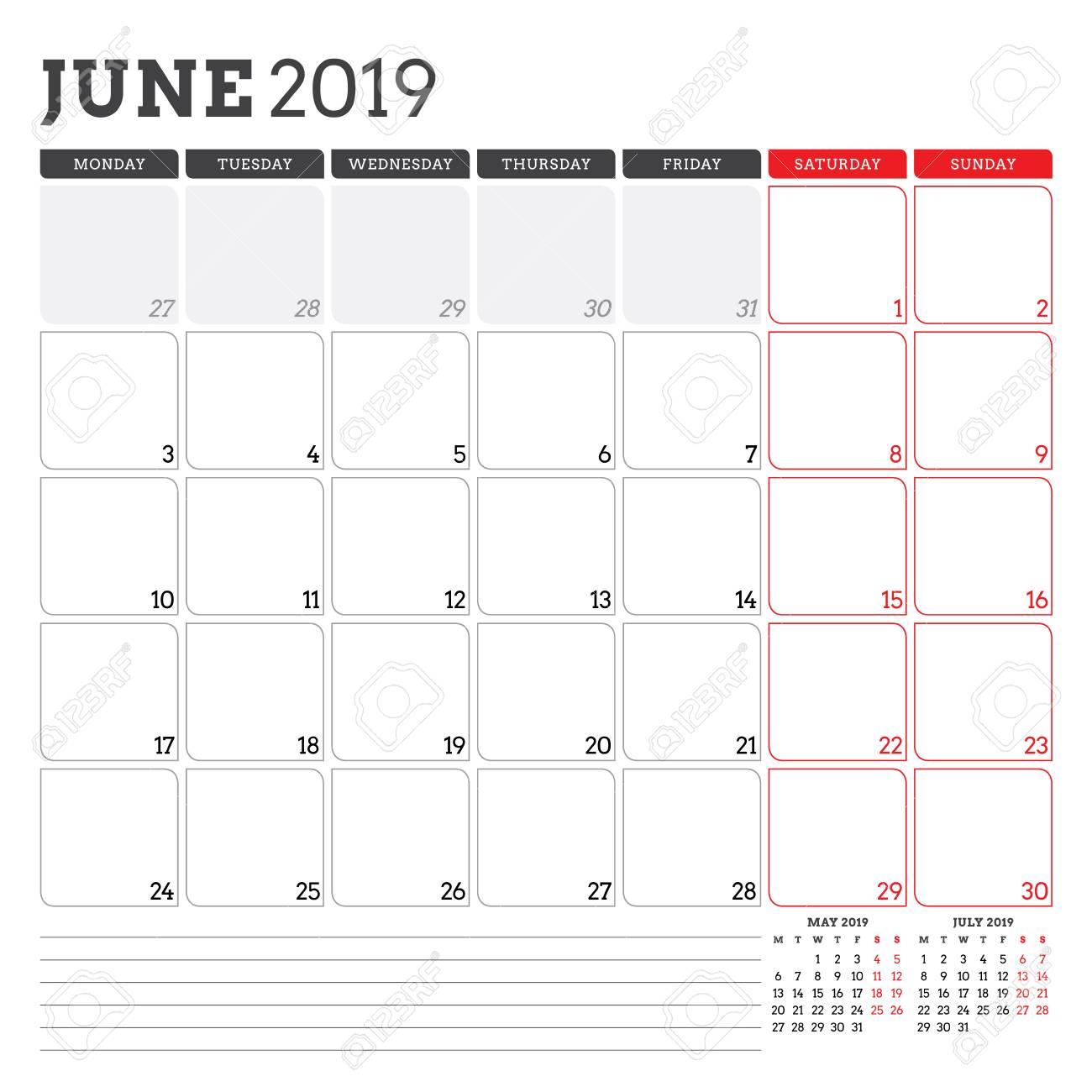 picture regarding June Calendar Printable identified as Calendar planner for June 2019. 7 days starts off upon Monday. Printable..
