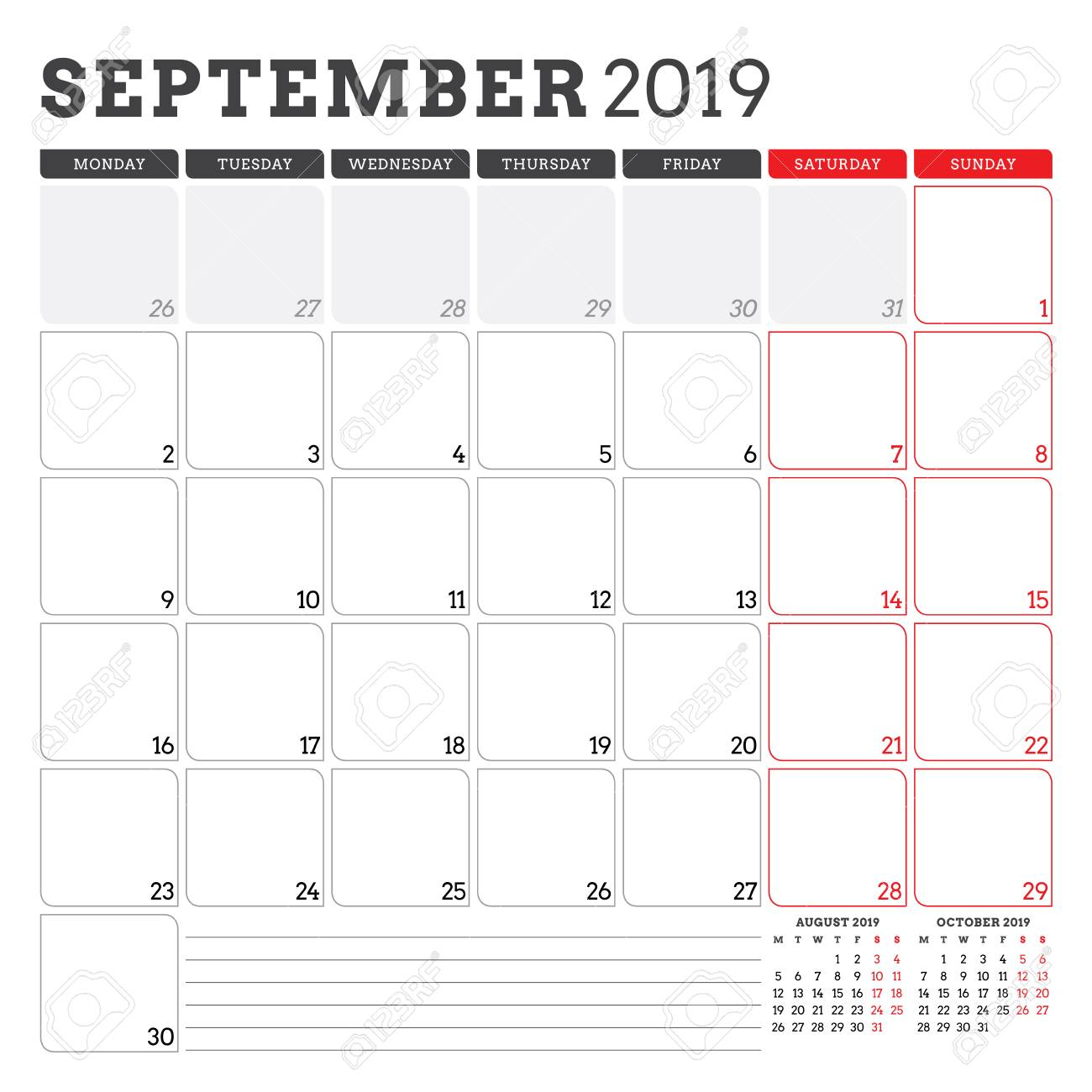 graphic regarding Printable September Calendar identify Calendar planner for September 2019. 7 days begins upon Monday. Printable..