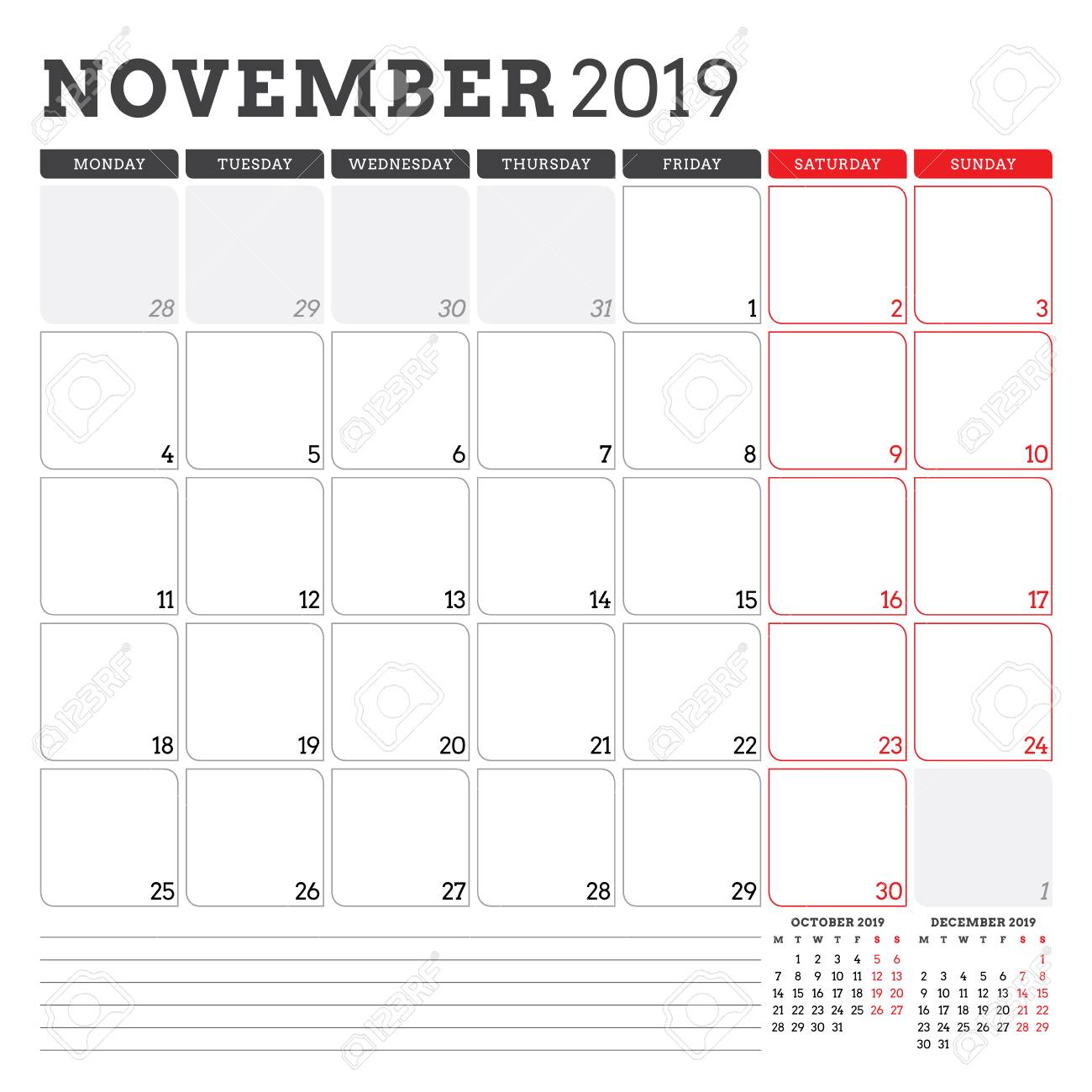 Calendar Planner For November 2019 Week Starts On Monday Printable