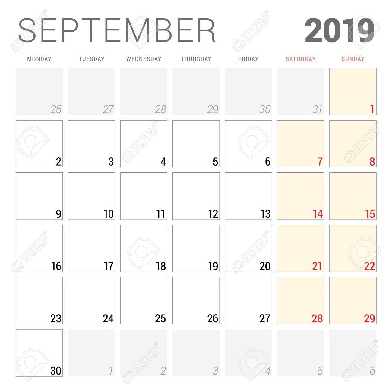 Calendar Planner September 2019.Calendar Planner For September 2019 Week Starts On Monday Printable