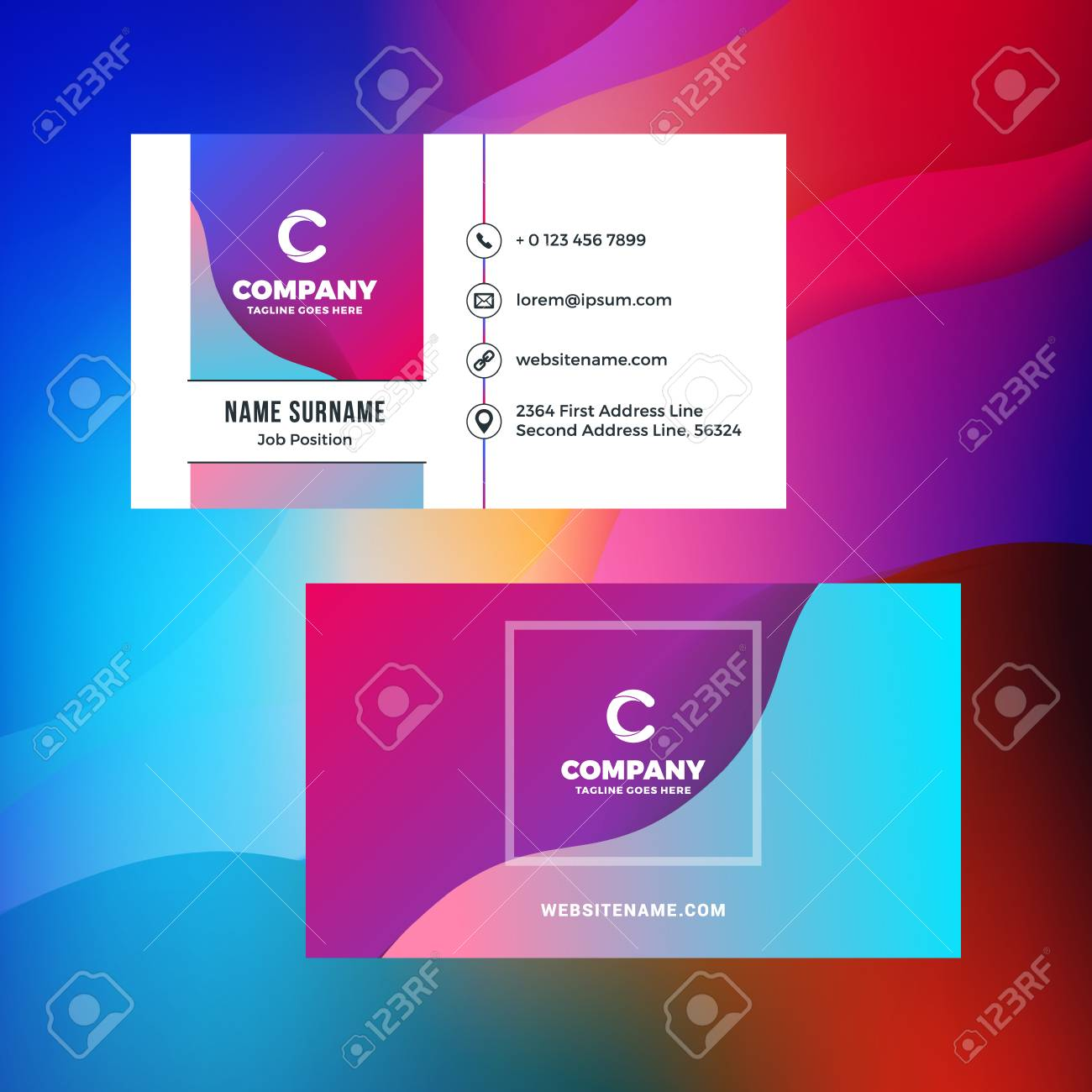 Double sided horizontal business card template with abstract double sided horizontal business card template with abstract background vivid gradients vector mockup wajeb Gallery