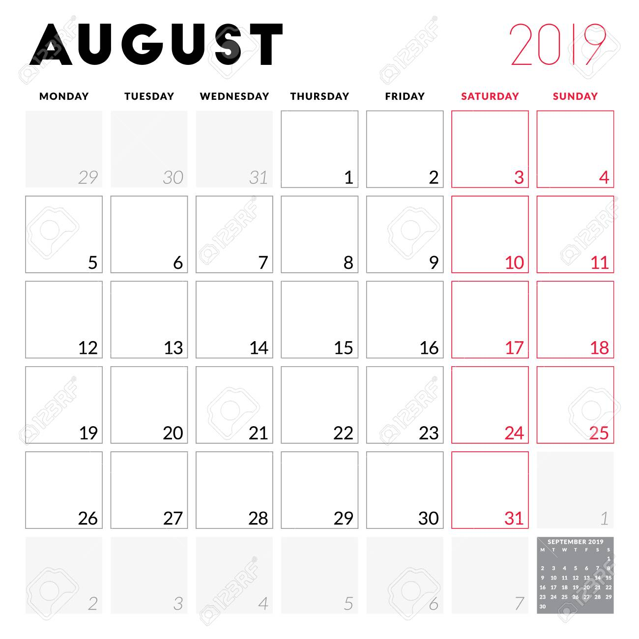 August 2019 Calendar Printable Monday Start.Calendar Planner For August 2019 Week Starts On Monday Printable