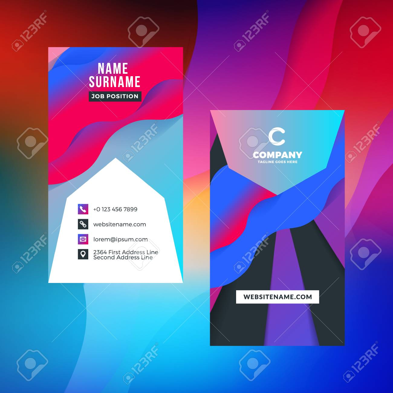 double sided vertical business card template with abstract background vivid gradients vector mockup