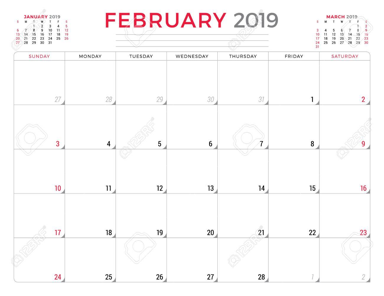 Free February 2019 Calendar Vector February 2019. Calendar Planner Stationery Design Template. Vector