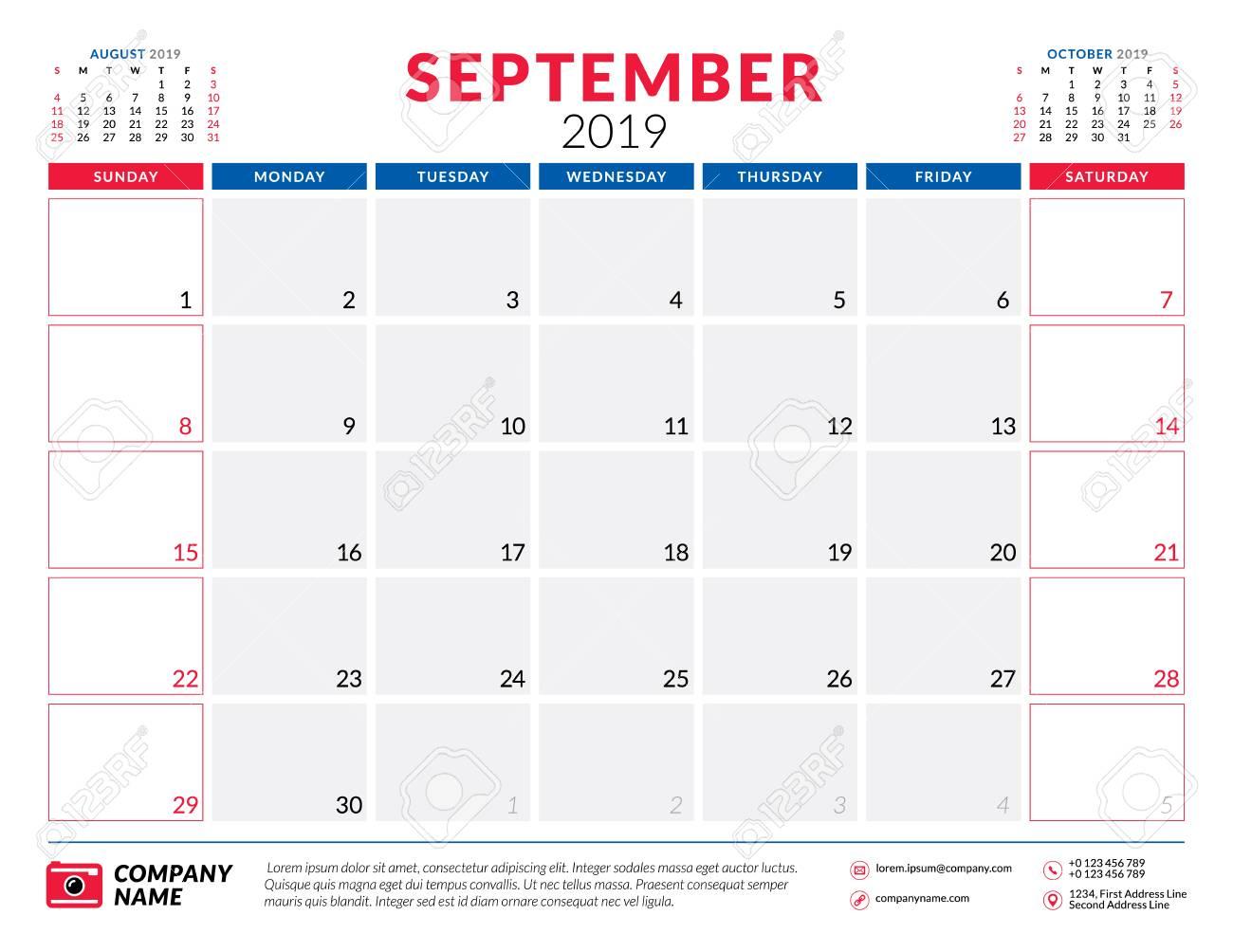 Calendar Planner September 2019.September 2019 Calendar Planner Stationery Design Template