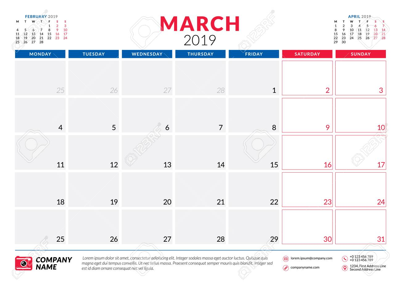 March 2019 Calendar Planner Stationery Design Template Vector