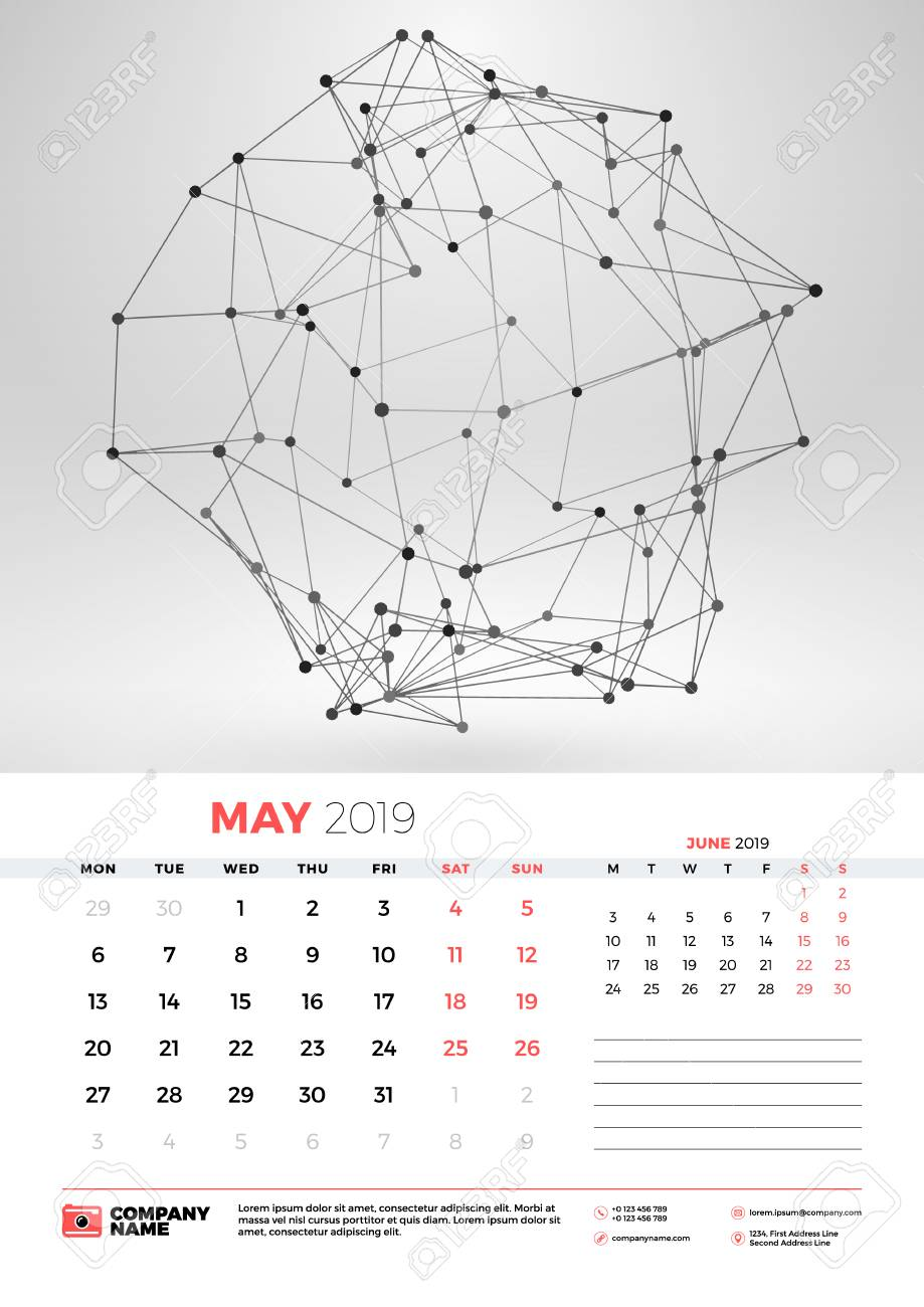 Wall calendar template for May 2019 with abstract geometric background