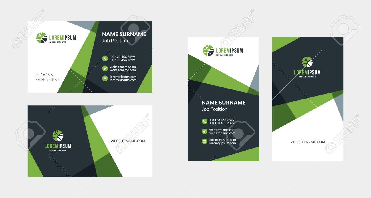 Double Sided Creative Business Card Template Portrait And Landscape Royalty Free Cliparts Vectors And Stock Illustration Image 116615837