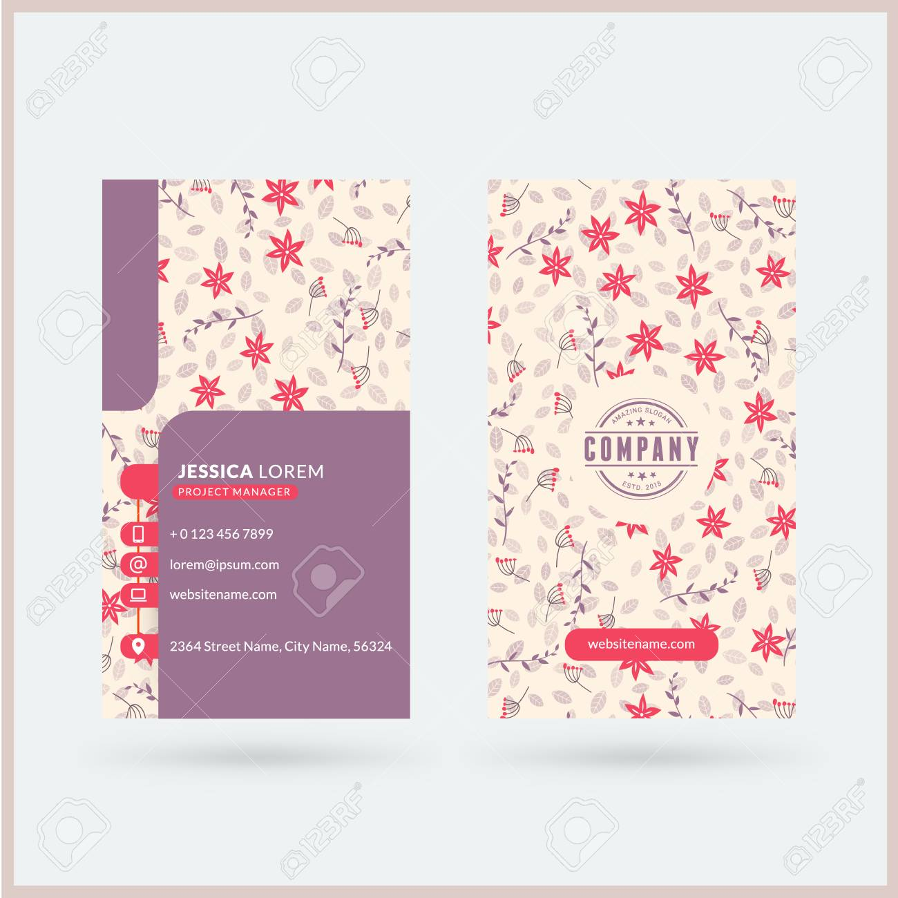 Double Sided Vertical Modern Business Card Template With Cute Floral