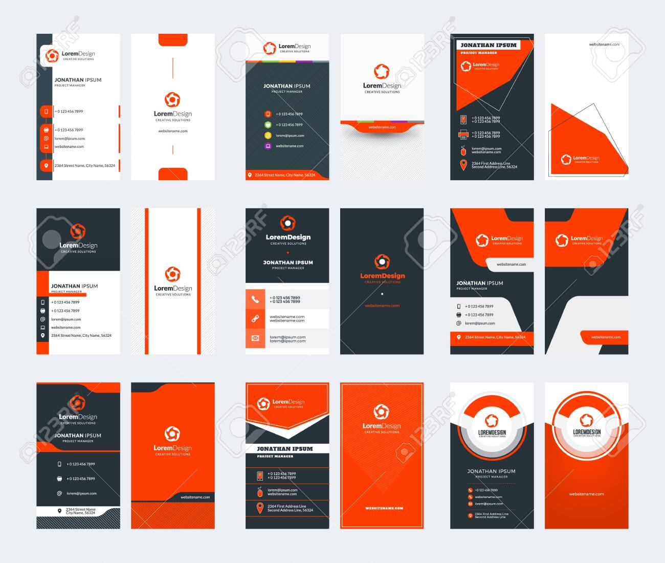 Set of 9 double sided vertical business card templates. Red color theme. Stationery design. Vector illustration - 123748537