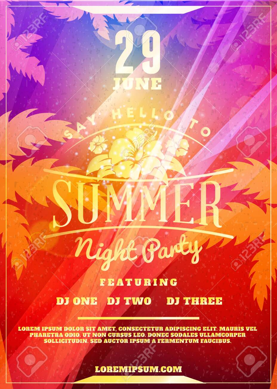 Summer night party flyer or poster. Vector design template with colorful abstract background - 123748545