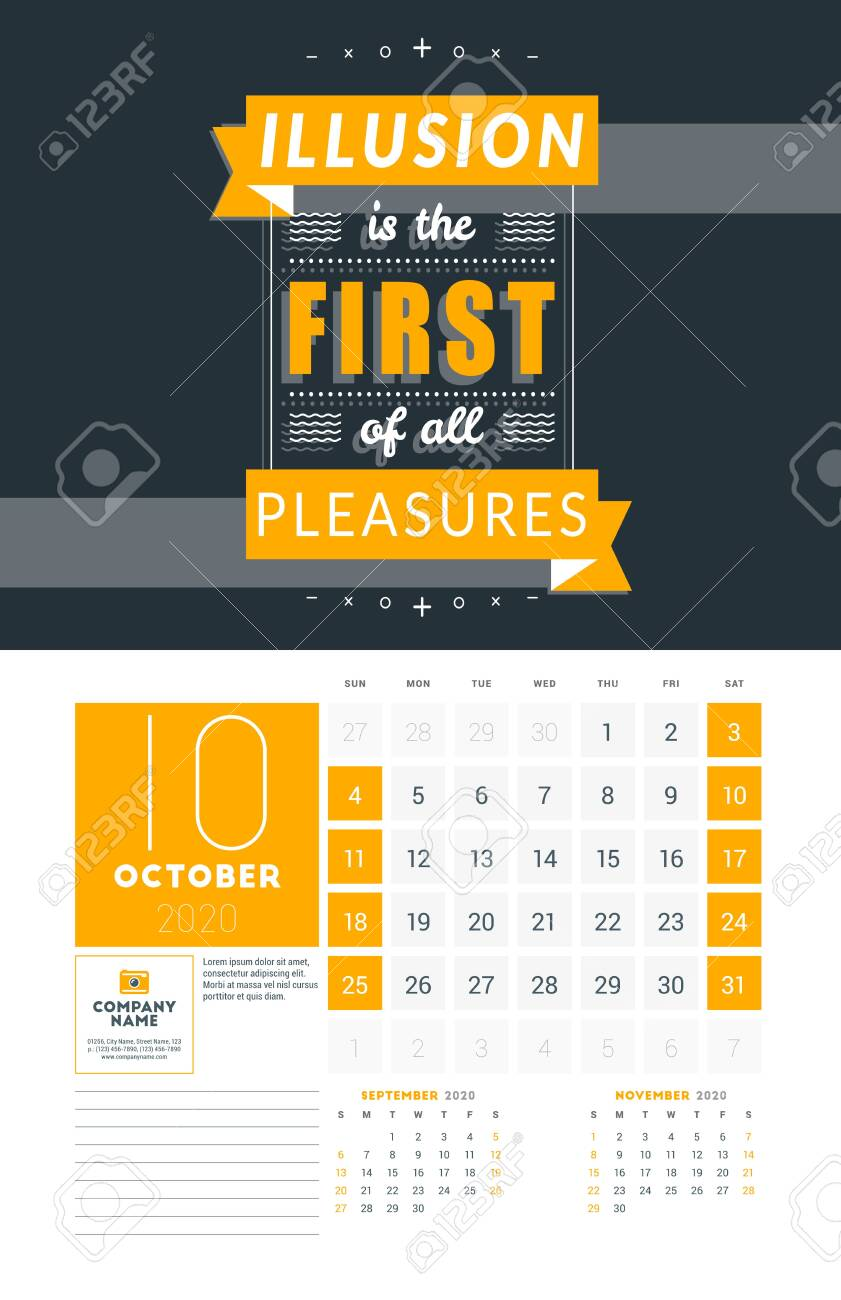 Wall Calendar Template For October 2020 Vector Design Print Royalty Free Cliparts Vectors And Stock Illustration Image 137257900