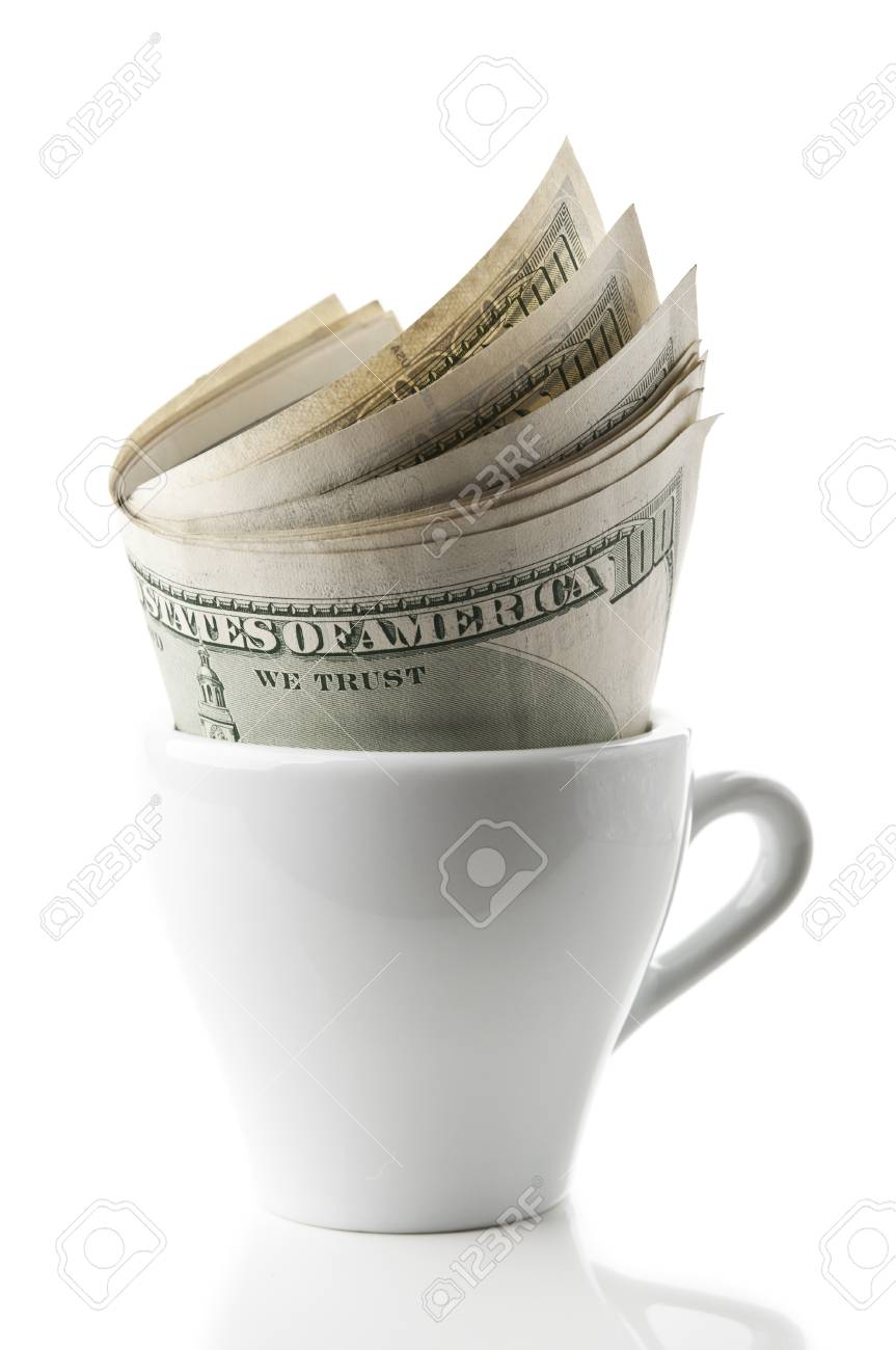 cup with dollars isolated on a white background Stock Photo - 11067373