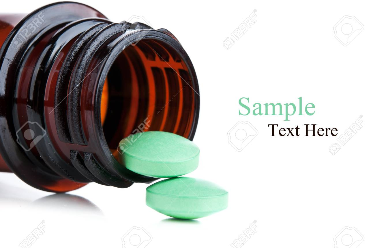 bottle with pills isolated on a white background Stock Photo - 12115417