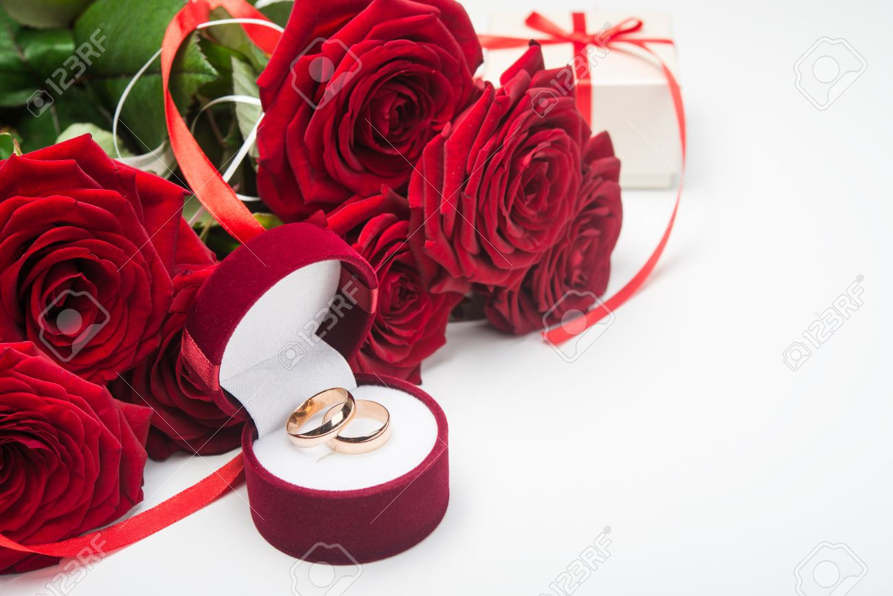 photo stock and rose roses image rings on a colourbox wedding red