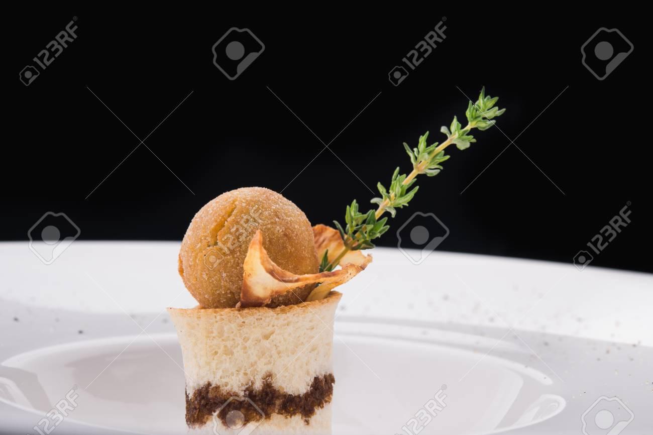 Pilzsuppe in den versorgungsrestaurants molekulare küche