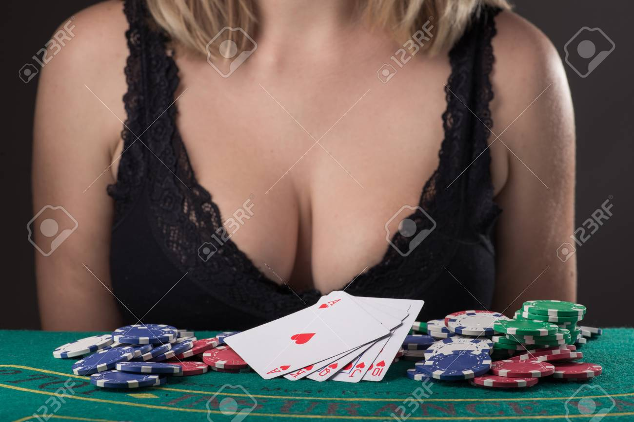 sexy girl in black lingerie and win in poker game with cards