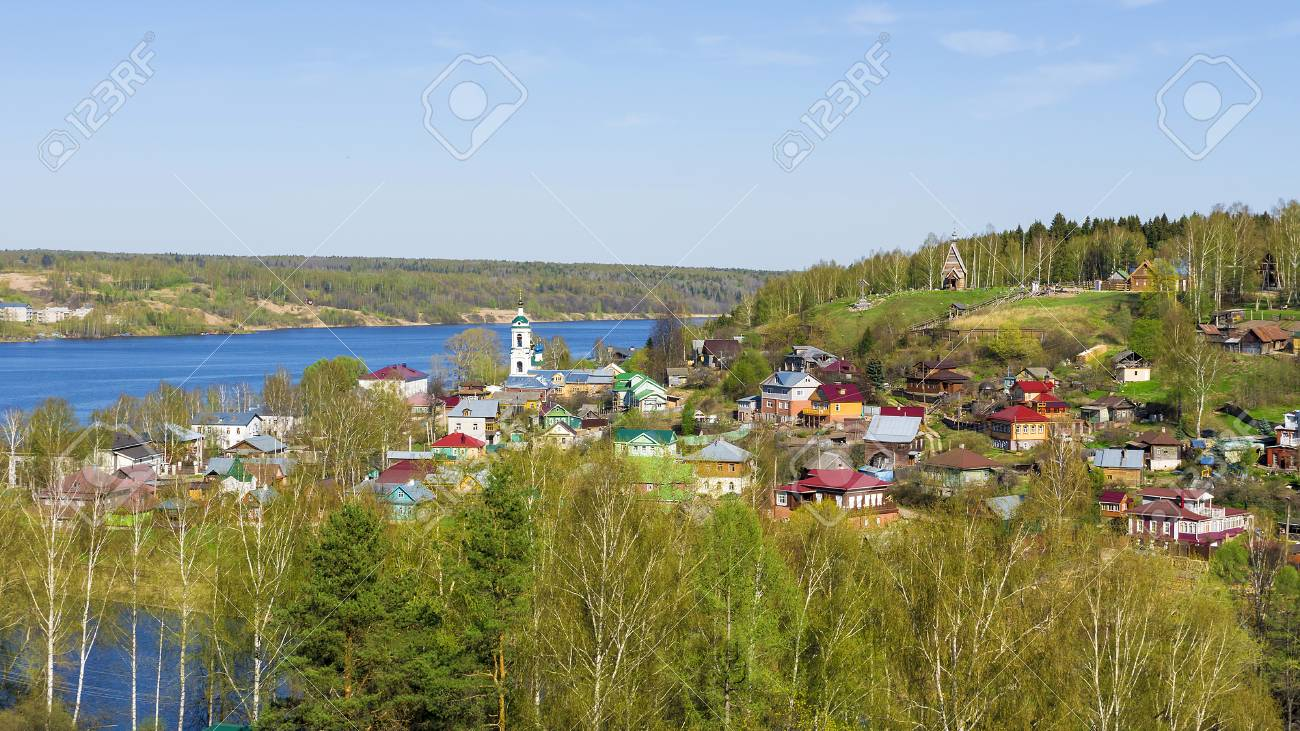 The Old Russian City Of Ples On The Volga River Russia Stock - The volga river