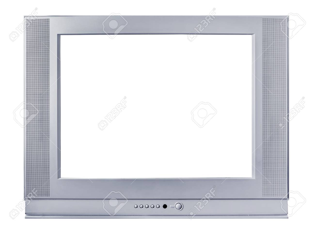Silvery Frame Of A TV Set On A White Background Stock Photo, Picture ...