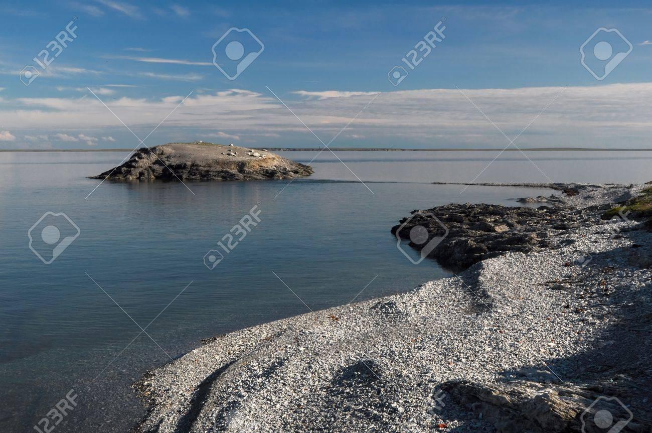バイガチ島小石穏やかな北極海の...