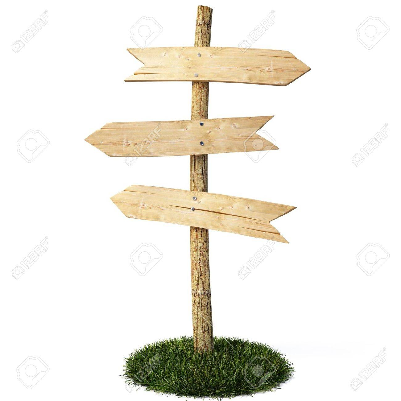 three empty arrow sign made out of wood on a patch of grass. Stock Photo - 6666723