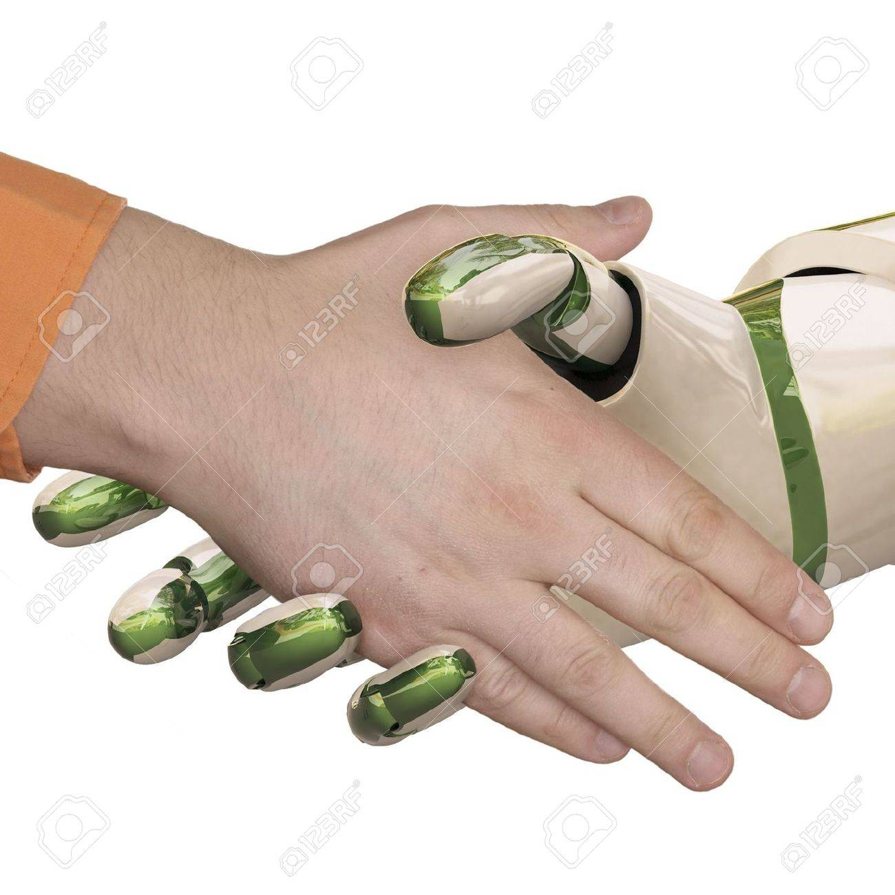 Robot and the man shake hands. Isolated on white. - 6681468