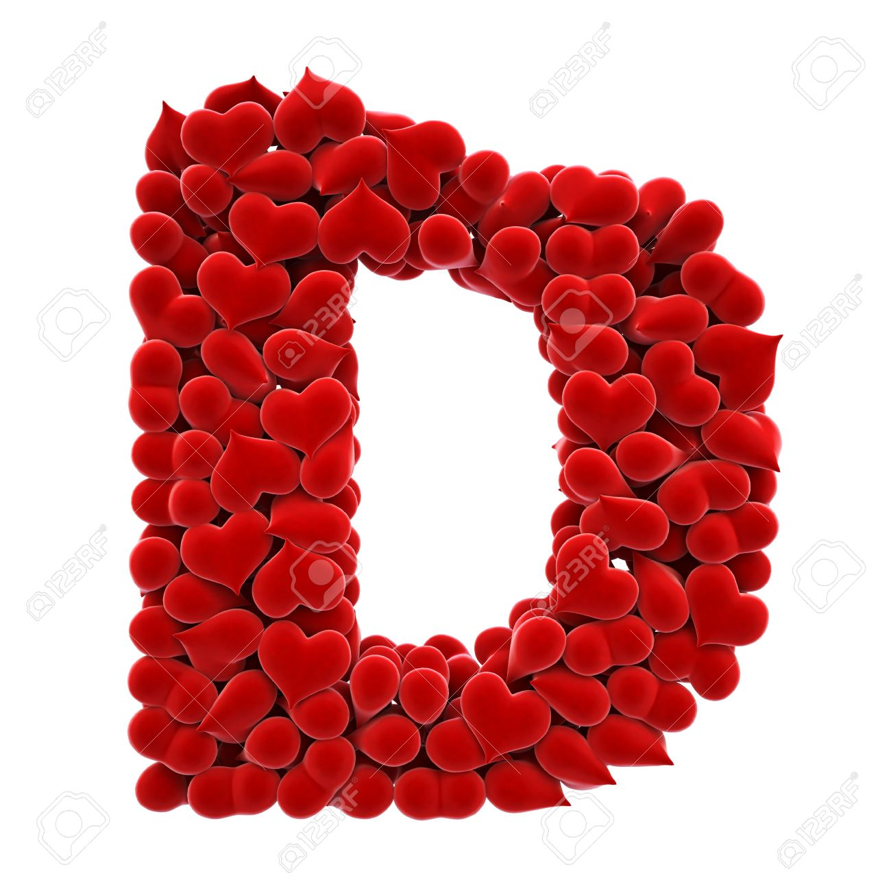 a lot of hearts of velvet in the form of letters. Stock Photo - 6681604