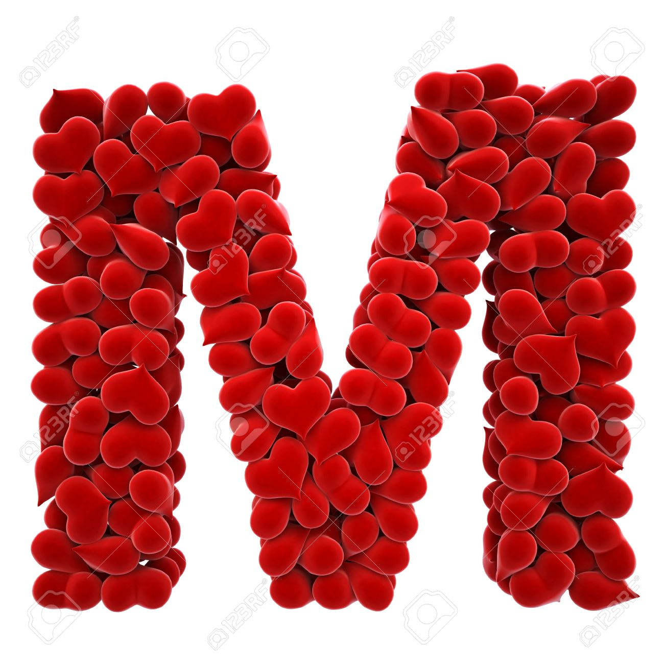 A Lot Of Hearts Velvet In The Form Letters Stock Photo