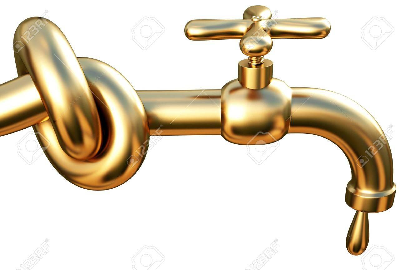 Vaak Vastgebonden In Een Knoop Gouden Kraan. Een Druppel Van Goud Die GB57