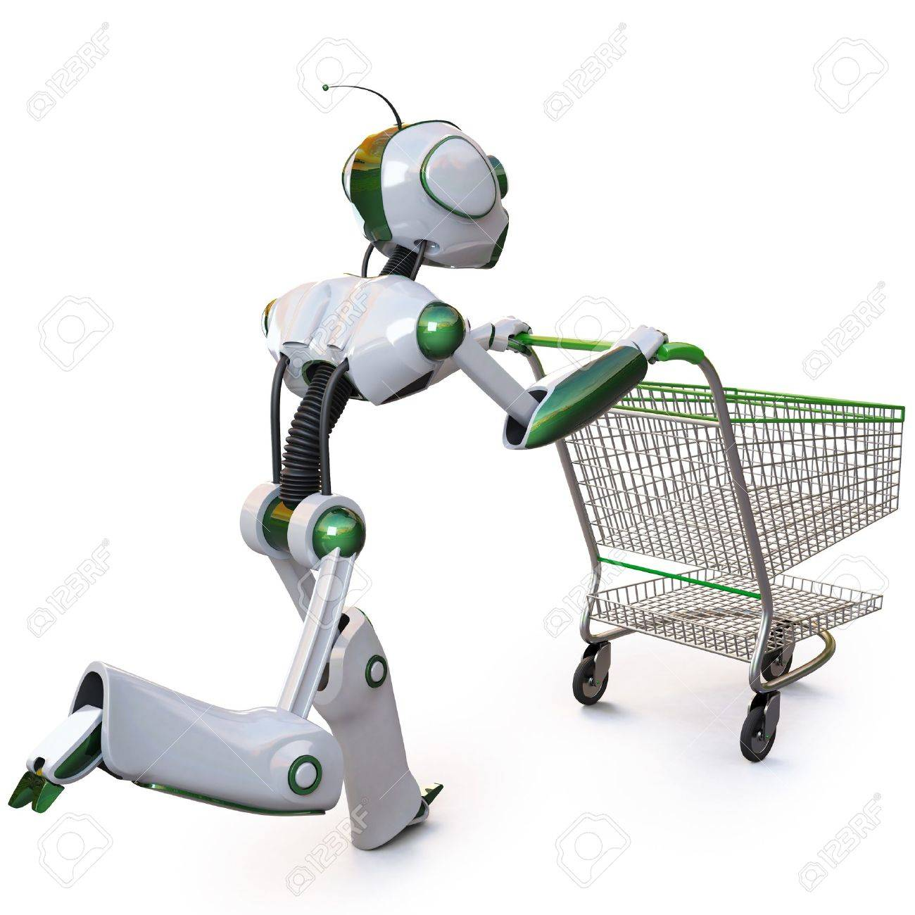 robot runs pushing a shopping cart. isolated on white including clipping path. Stock Photo - 8143996