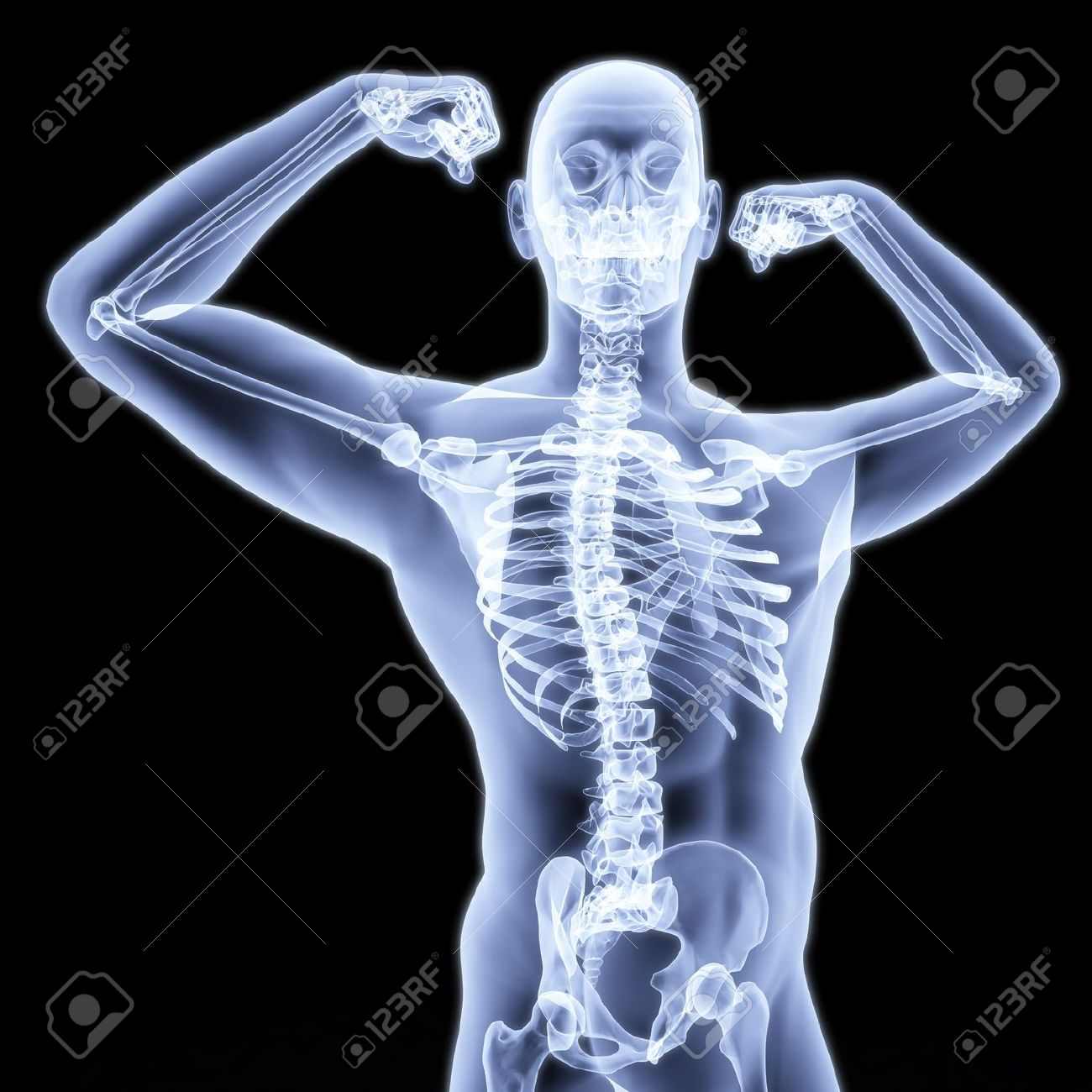 man shows biceps under the X-rays. Stock Photo - 8144018