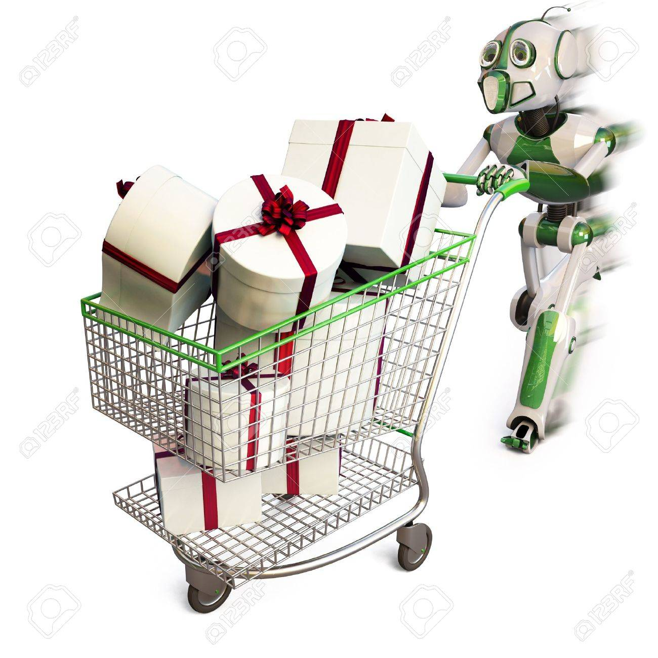 robot runs pushing a shopping cart with gifts. Stock Photo - 8170056