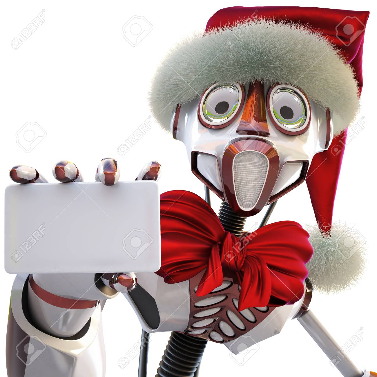 robot in the hat of Santa Claus handing a blank business card. isolated on white. Stock Photo - 8316925