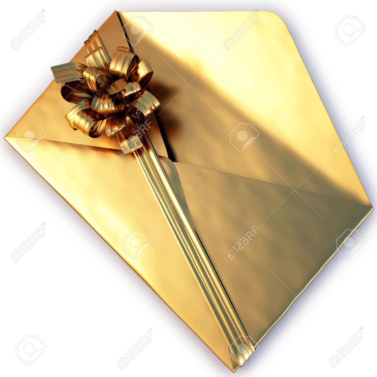 open a golden envelope tied with ribbon and bow. isolated on white Stock Photo - 8317035