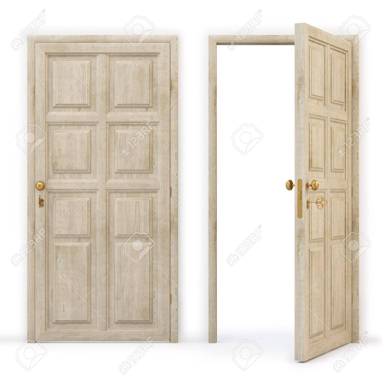 Open door closed door - Open And Closed Wooden Doors Stock Photo 8657103