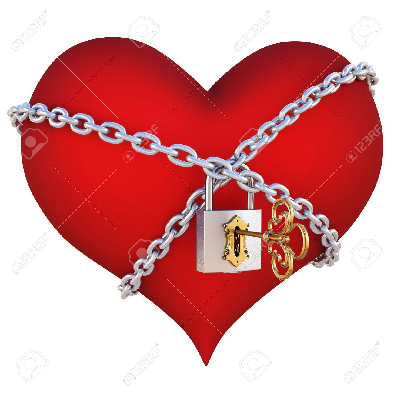 red heart, wrapped a chain padlocked. isolated on white Stock Photo - 8657076