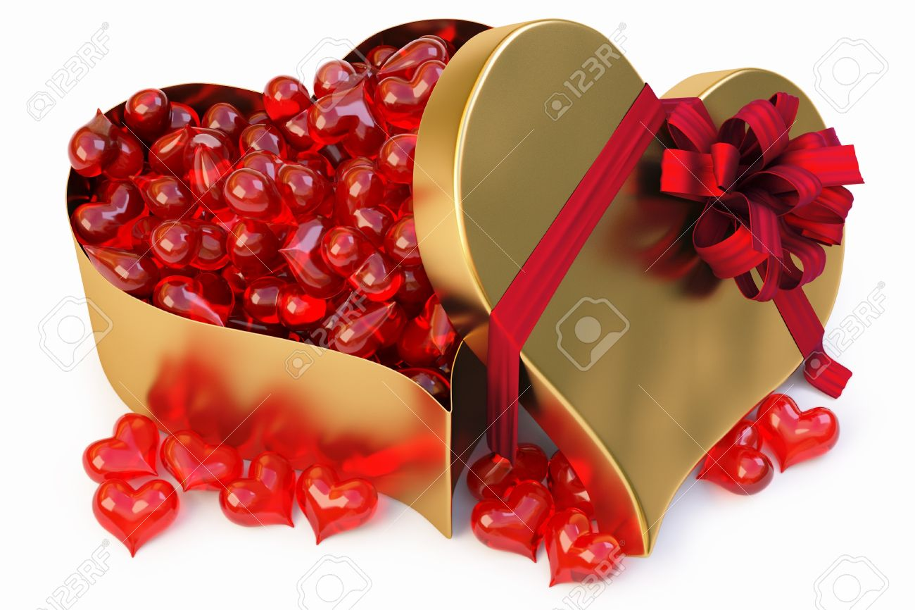 A Lot Of Glass Hearts In A Large Gold Heart-shaped Gift. Stock ...