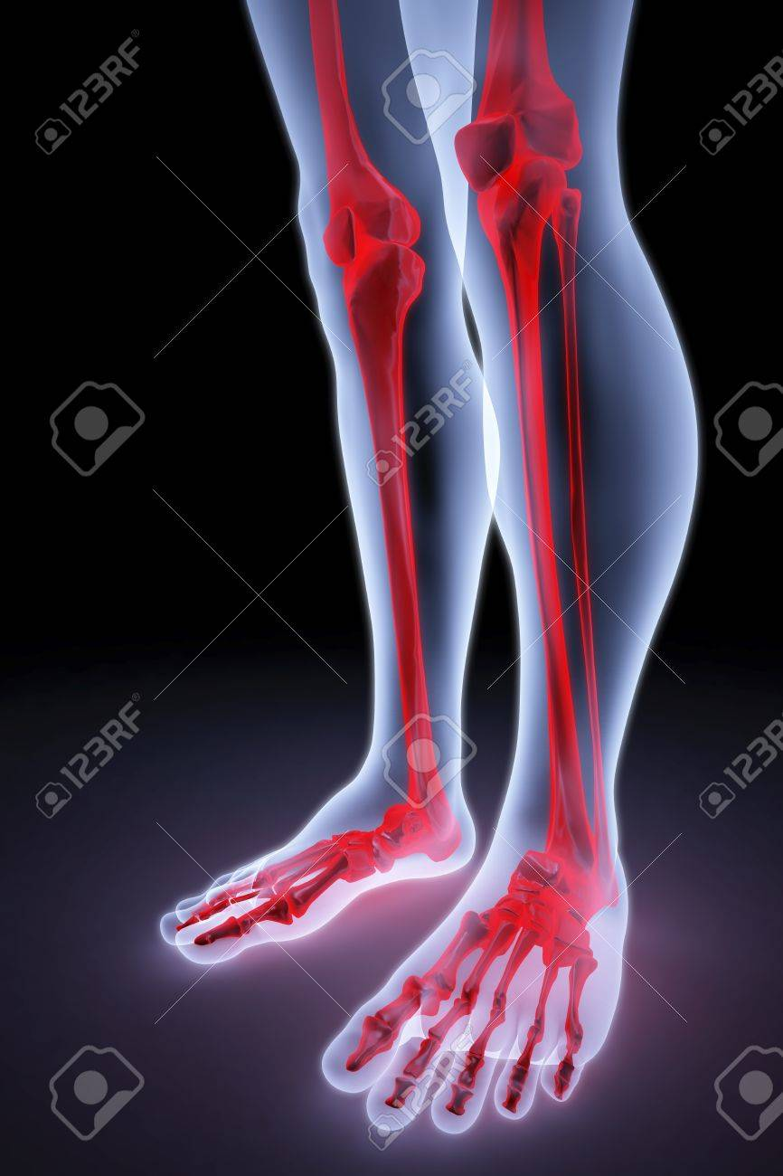 Male Feet Under The X-rays. Bones Are Highlighted In Red. Stock ...
