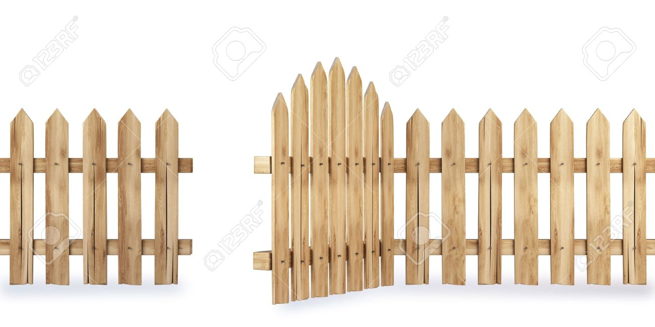 wooden fence with a gate isolated on white Stock Photo - 8708722
