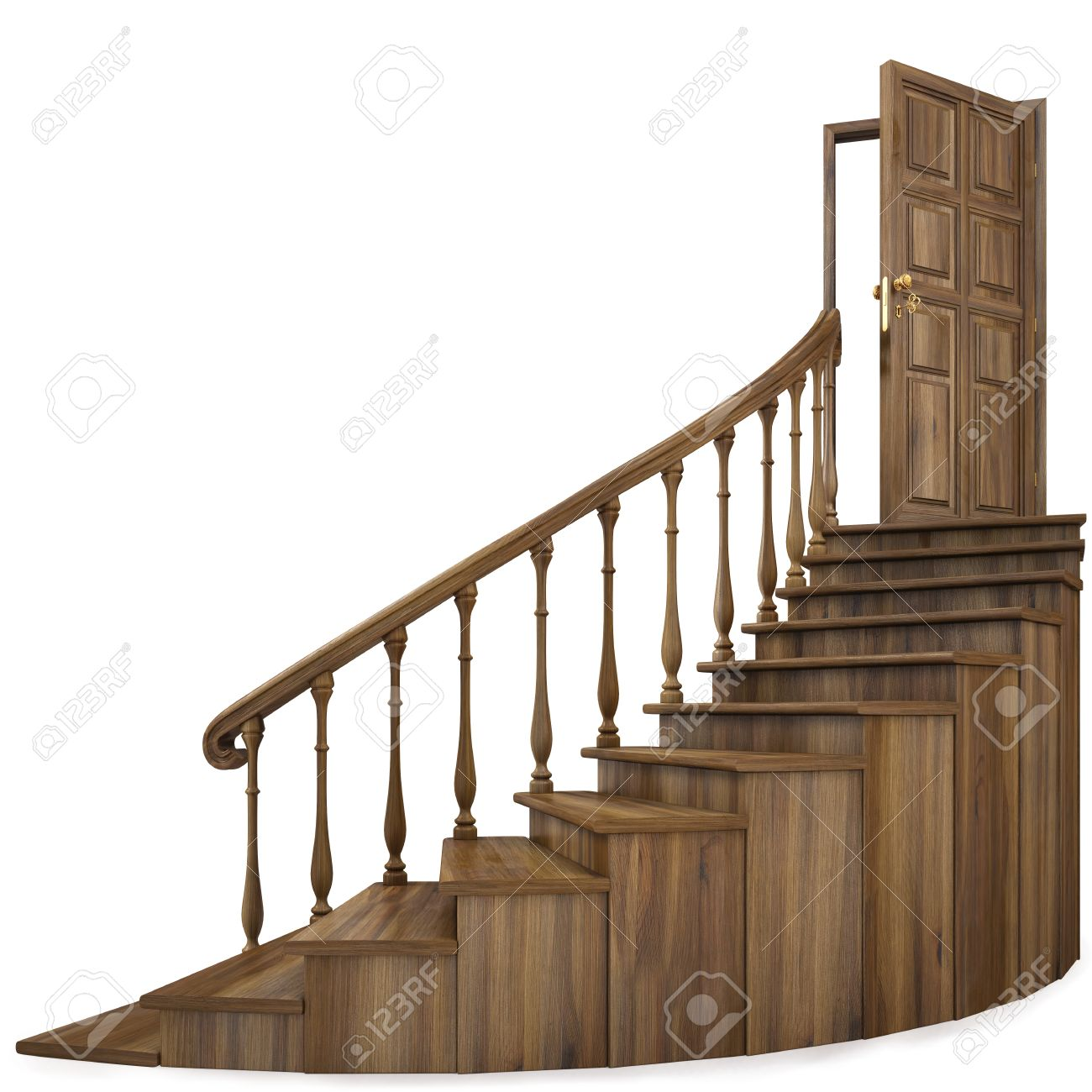 wooden twisted staircase and opened door. isolated on white. Stock Photo - 8991743
