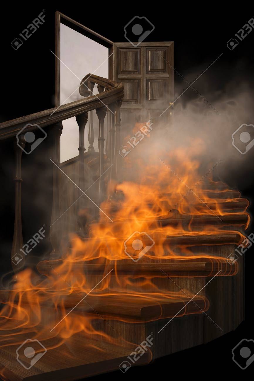burning wooden twisted staircase and opened door. isolated on black. Stock Photo - 9094276 & Burning Wooden Twisted Staircase And Opened Door. Isolated On ...