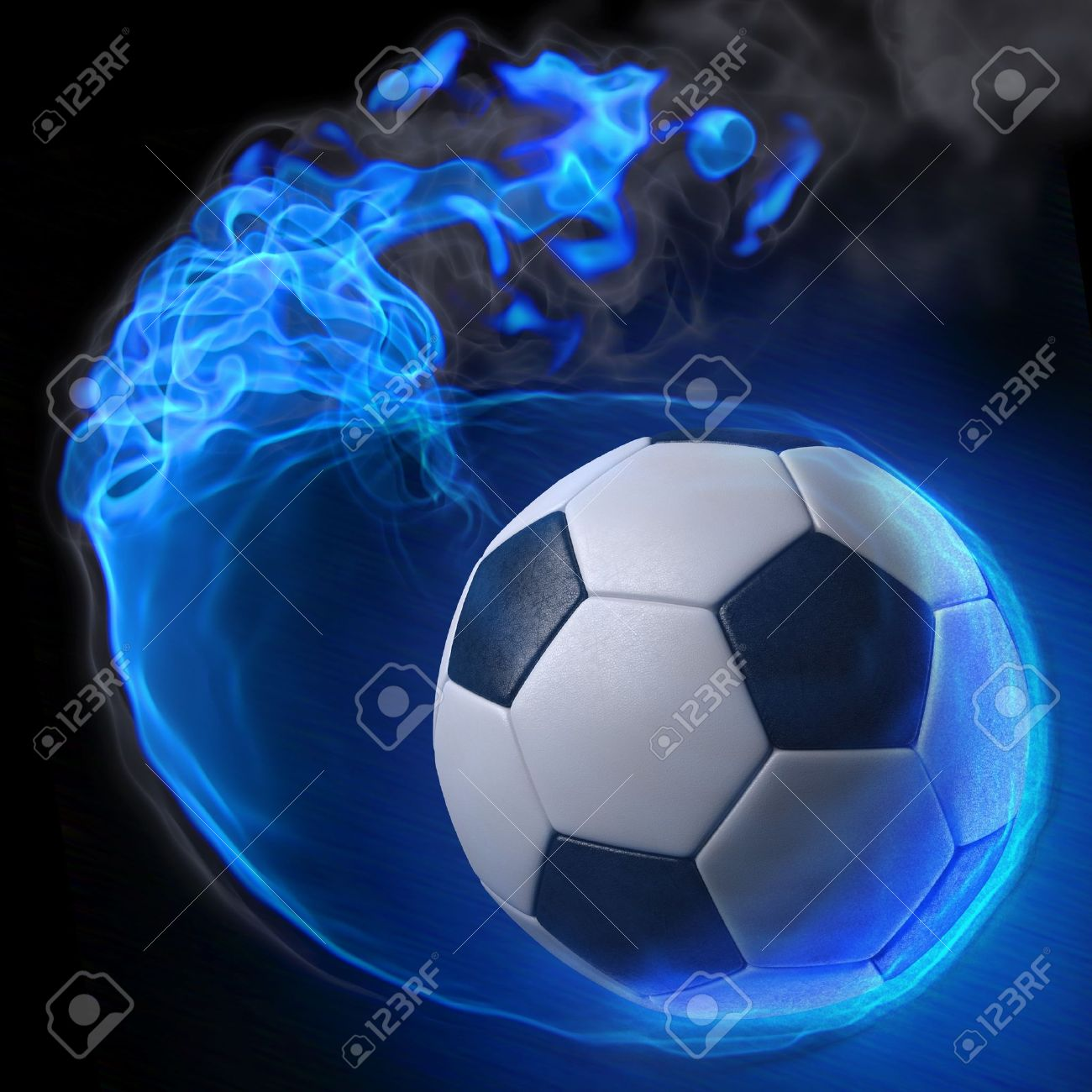 magic soccer ball in the blue flame. Stock Photo - 9185766